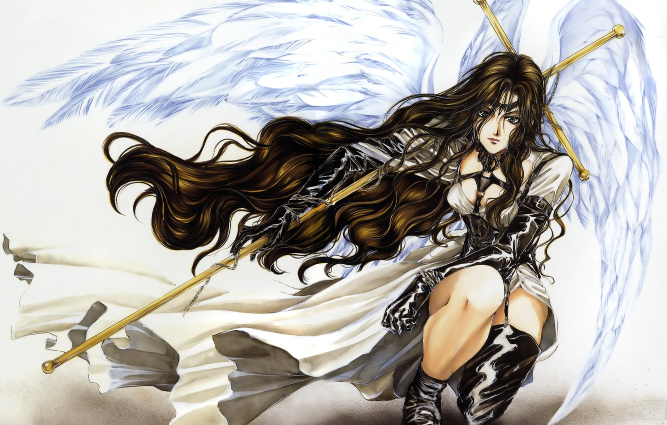 Photo wallpaper wings, angel, anime, art, staff, cloak, kopeck piece, fragment of his, the abode of the …
