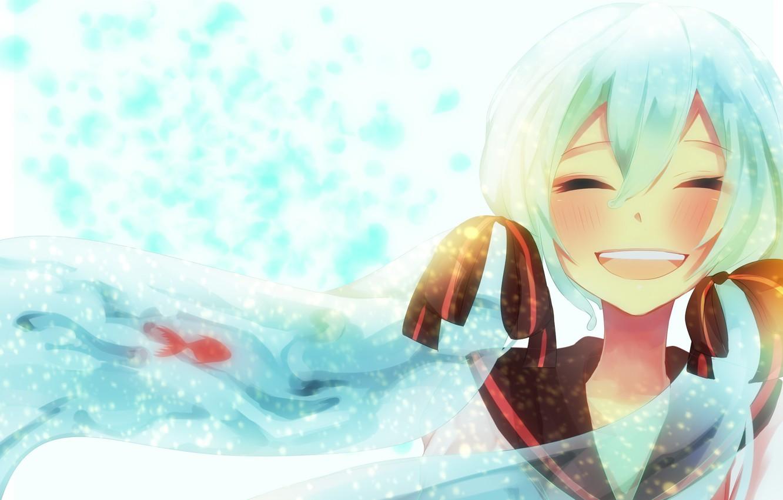 Photo wallpaper happiness, smile, girl, Hatsune Miku, Vocaloid, Vocaloid, Female, Long Hair, Hatsune Miku, Twin Tails