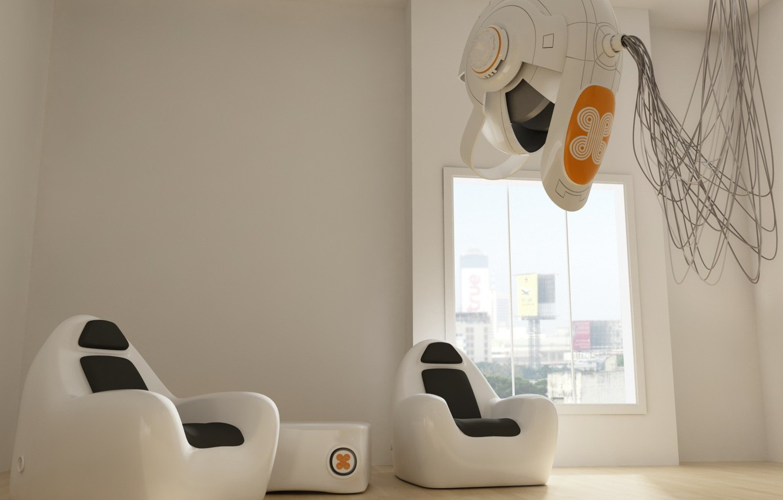 Photo wallpaper white, fantasy, room, furniture