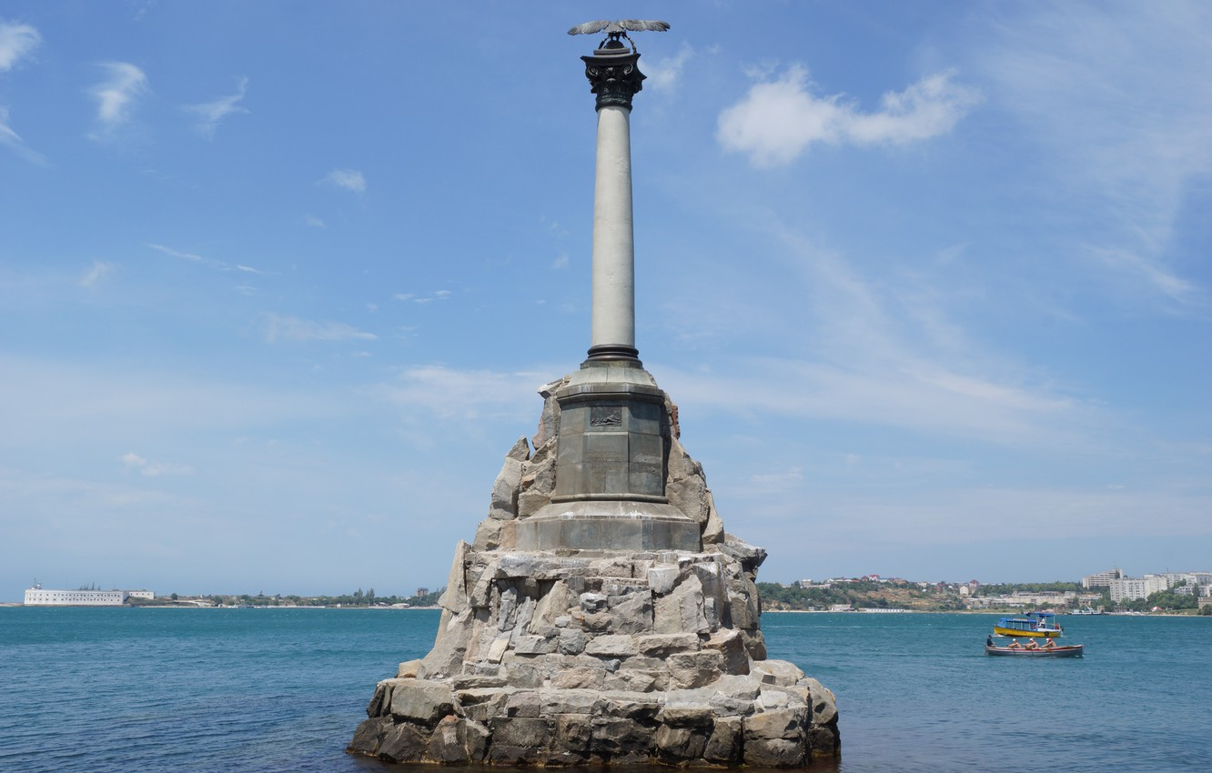 Photo wallpaper sea, the sky, water, the city, hero, monument, Russia, Crimea, Sevastopol, monument to the scuttled …