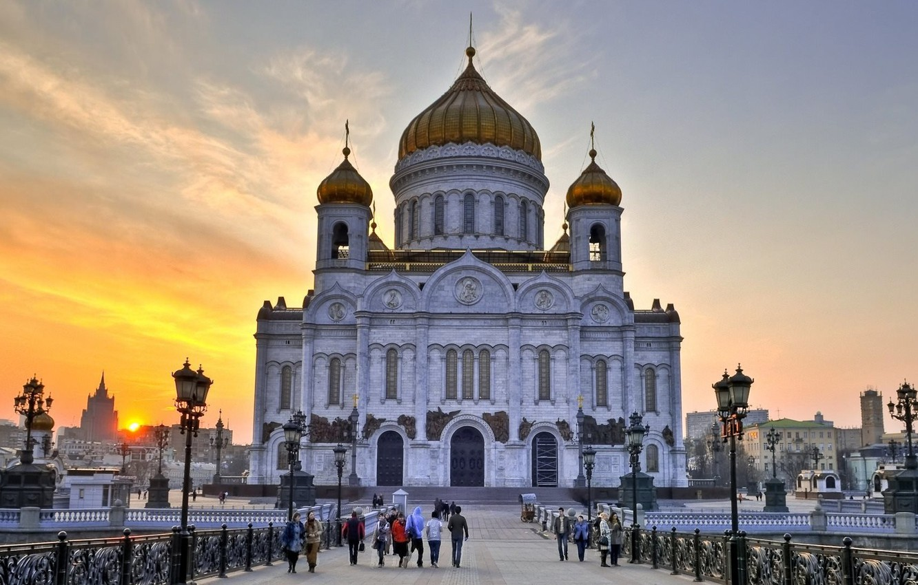Wallpaper Photo Church Moscow Russia The Cathedral Of