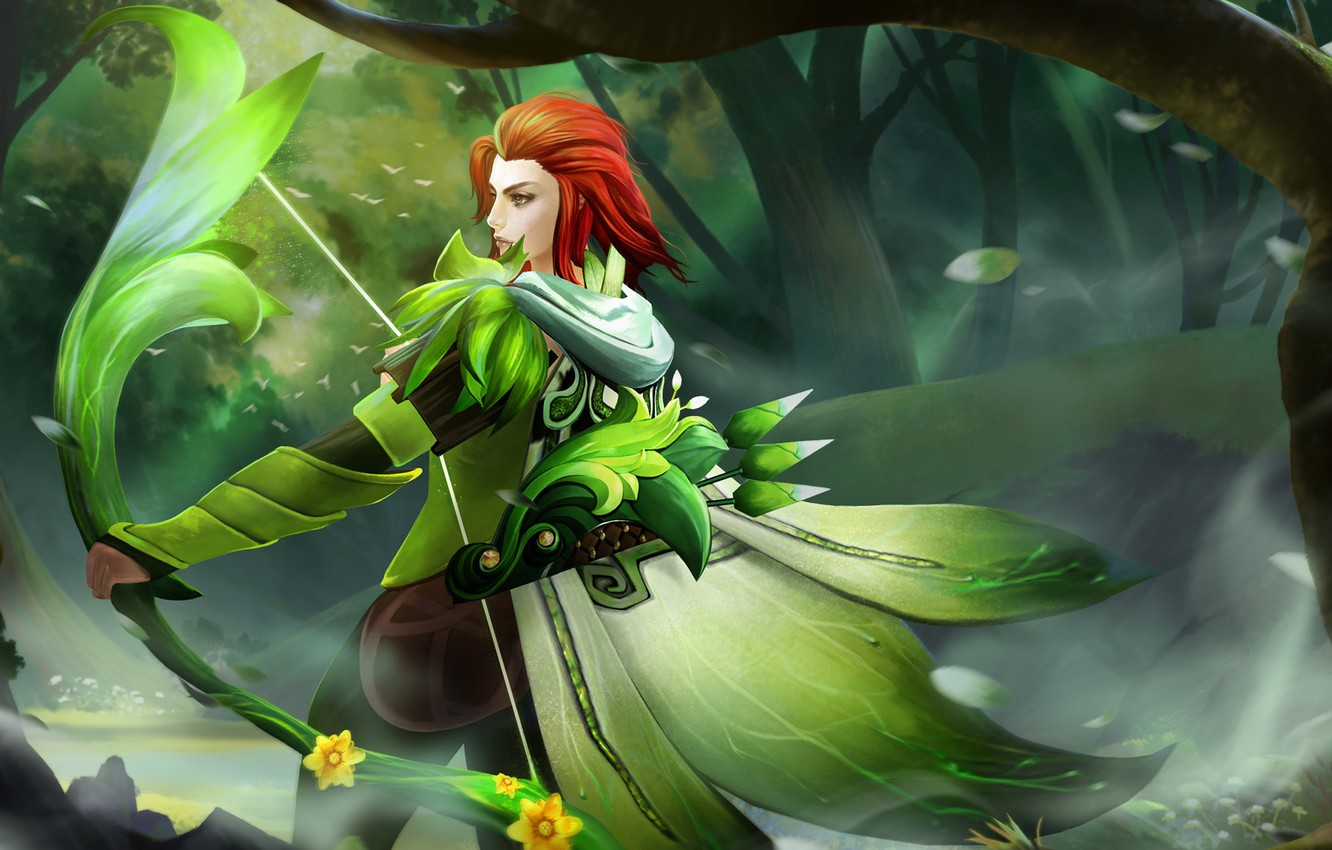 Wallpaper Greens Grass Girl Weapons Archer Red Defense Of