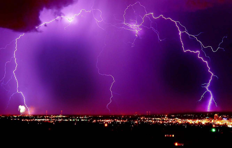 Photo wallpaper lightning, night city, lilac sky
