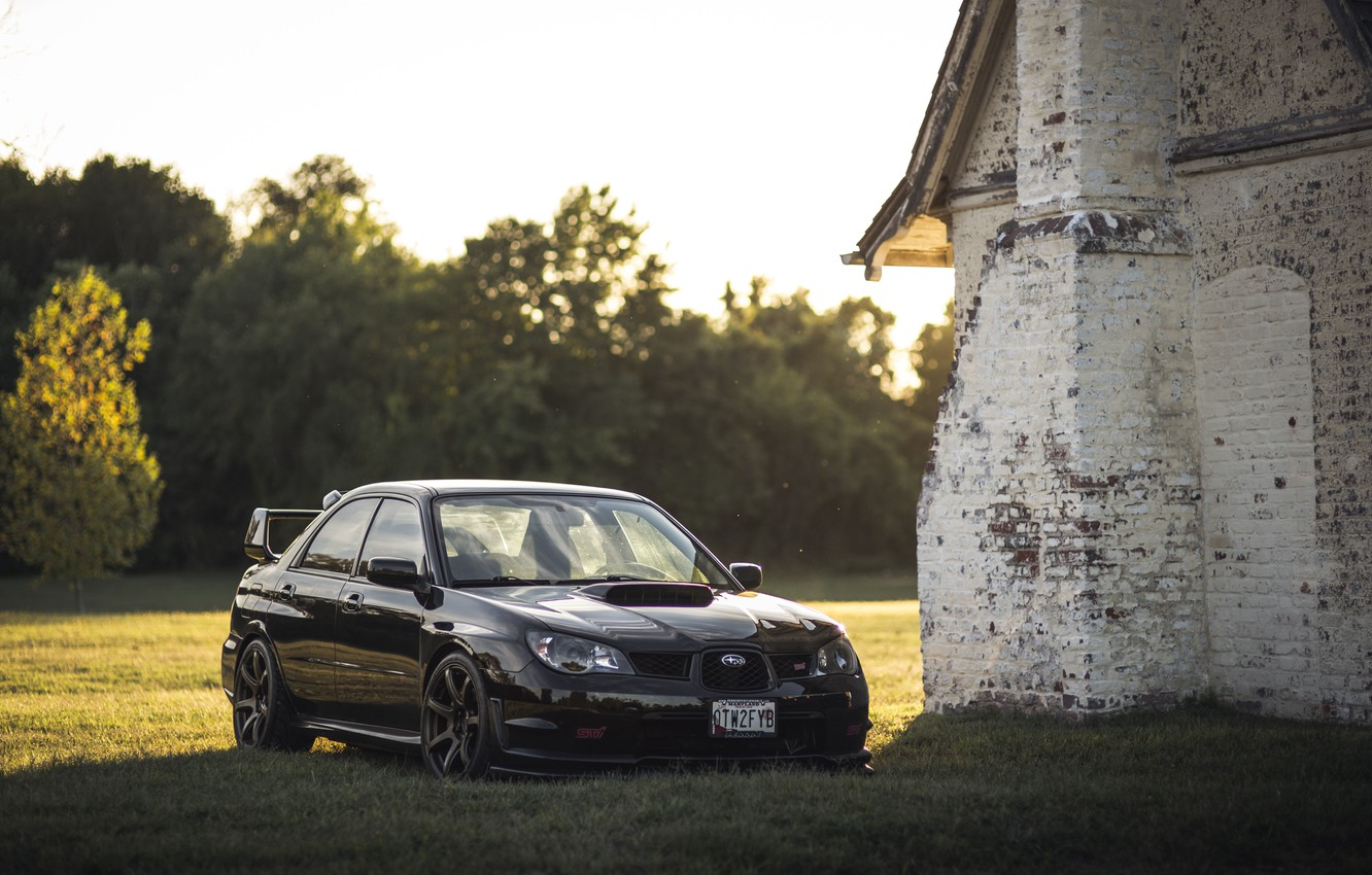 Photo wallpaper field, forest, grass, the sun, trees, house, lights, Subaru, wheel, WRX, fireplace, front, STI