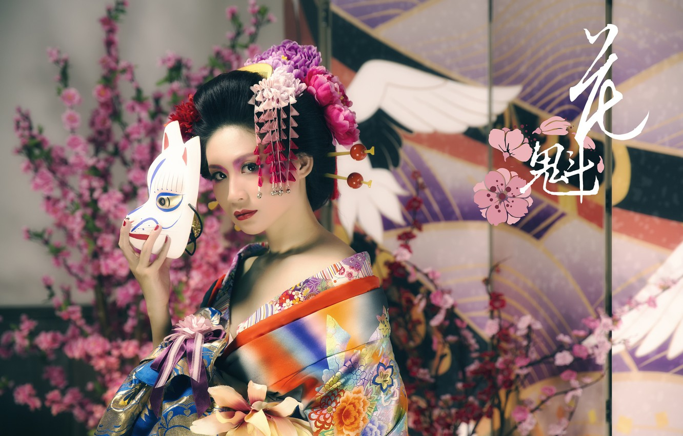 Photo wallpaper girl, mask, Asian