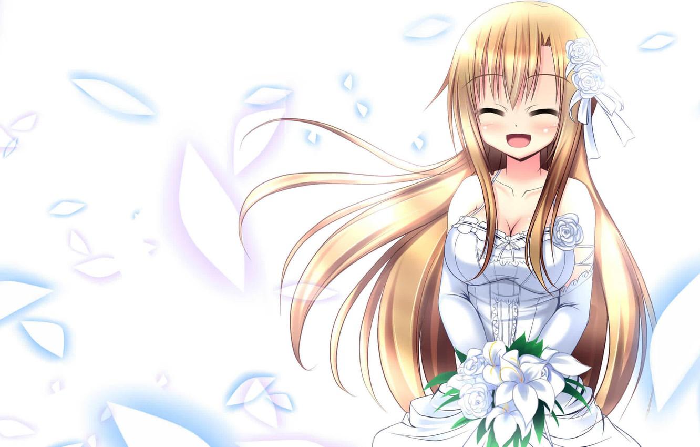 Photo wallpaper bouquet, dress, sword art online, sao, Sword art online, asuna, Asuna