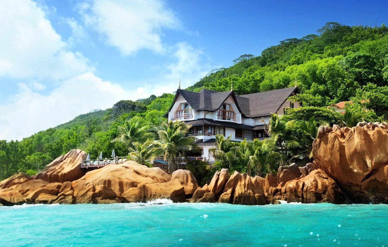 Photo wallpaper nature, house, stones, palm trees, the ocean, shore, island, Seychelles, the hotel, Seychelles