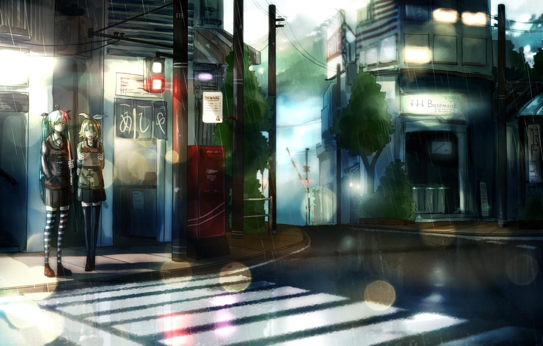 Photo wallpaper the city, girls, rain, home, anime, art, traffic light, lights, vocaloid, hatsune miku, kagamine rin, …