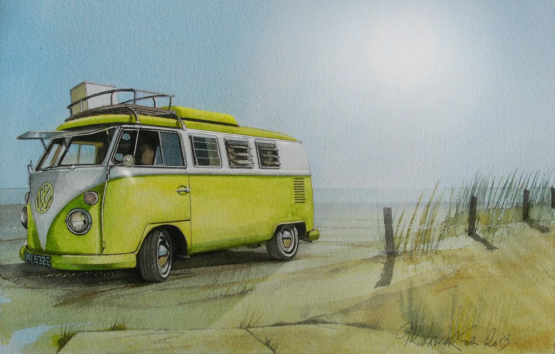 Photo wallpaper beach, figure, Volkswagen, painting, minibus, Transporter, Volkswagen, Type 2