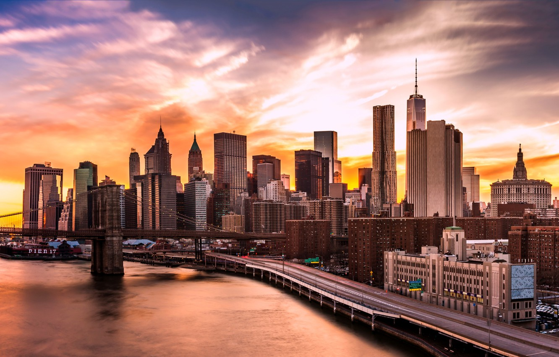 Wallpaper Lights Usa River Sky Bridge Sunset New York
