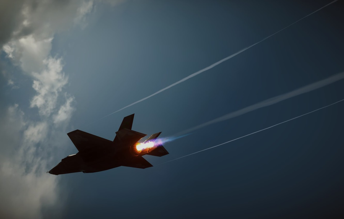 Photo wallpaper the sky, clouds, fire, fighter, Jet, F-35