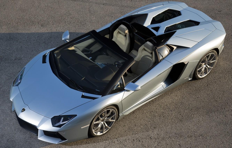 Photo wallpaper Roadster, the view from the top, roadster, LP700-4, Lamborghini, Lamborghini Aventador