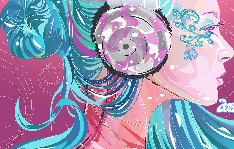Photo wallpaper color, girl, bright, Vector, headphones, profile, blue hair