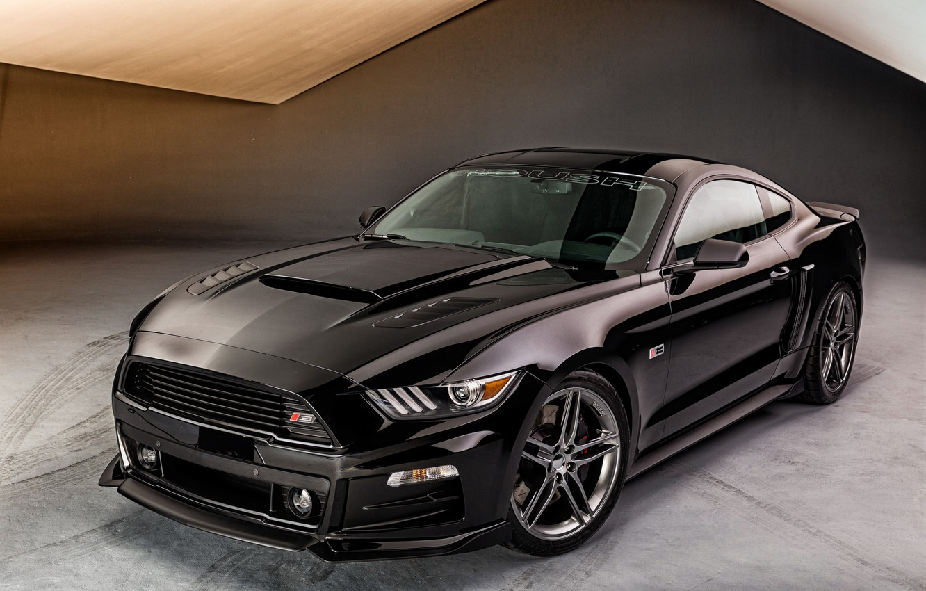 Photo wallpaper black, Mustang, Ford, Mustang, Black, Roush, 2015, Stage 3, FRD
