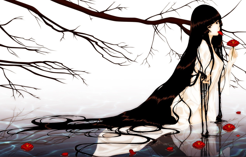 Photo wallpaper water, girl, flowers, tree, hair, branch, kara no shoujo