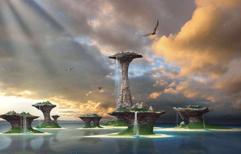 Photo wallpaper sea, the sky, water, Islands, birds