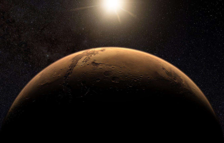 Photo wallpaper stars, surface, planet, Mars