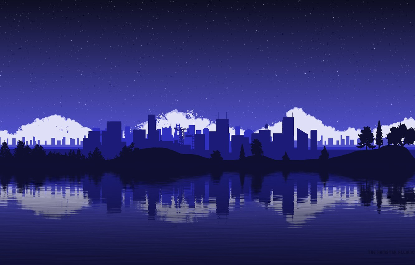 Photo wallpaper the sky, water, stars, clouds, trees, hills, skyscrapers, The city