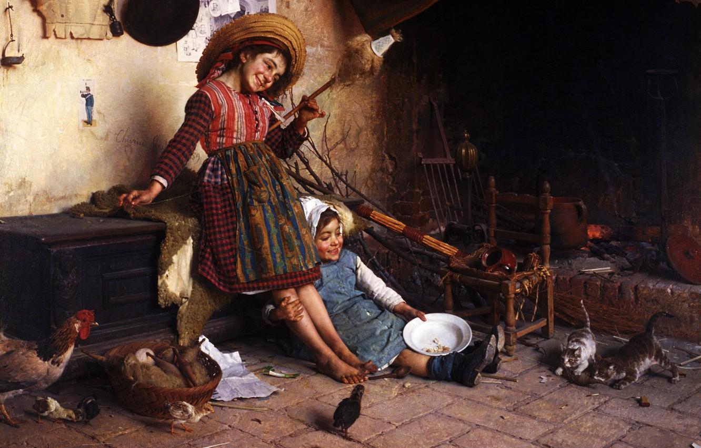Photo wallpaper joy, children, figure, Picture, art work