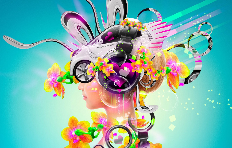 Photo wallpaper Flowers, Girl, Auto, Music, Neon, Headphones, Blonde, Bright, Style, Girl, Wallpaper, Bubbles, Car, Fantasy, Music, …
