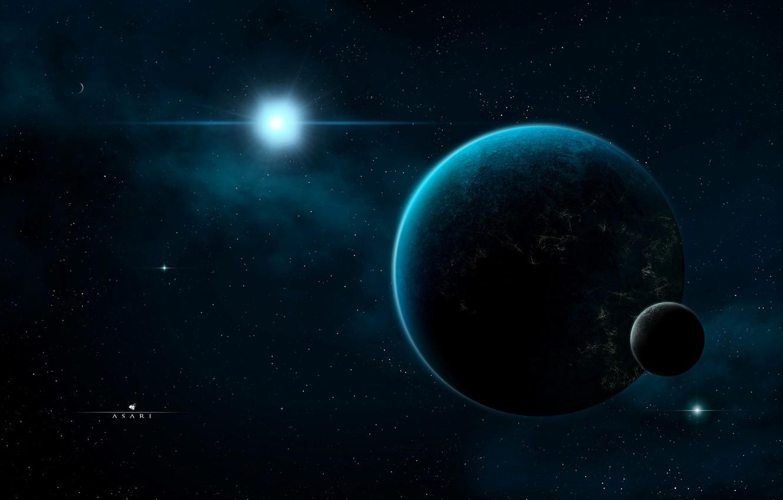Photo wallpaper space, lights, darkness, satellite, stars, Planet