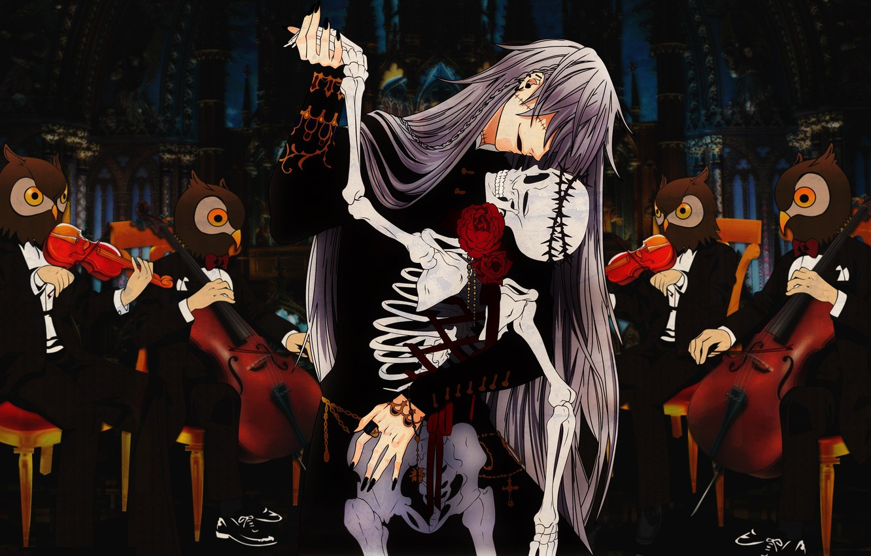 Photo wallpaper dance, anime, art, skeleton, owls, glove, kuroshitsuji, orchestra, Butler, pawn. 13. anime, michaelis