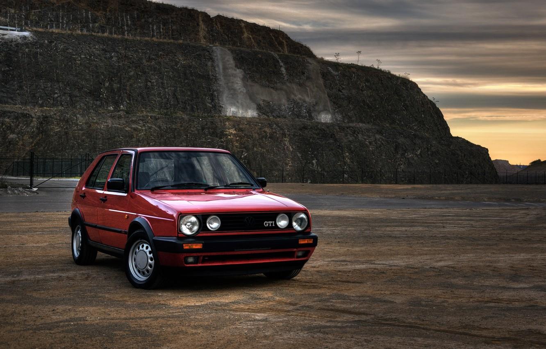 Photo wallpaper landscape, photo, Classic, view, cars, auto, wallpapers auto, Wallpaper HD, Photography, Volkswagen Golf, Gti, Retro