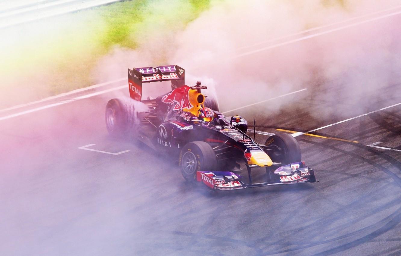 Photo wallpaper Infinity, Formula 1, Red Bull, Smoke, Moscow Raceway, Drifting