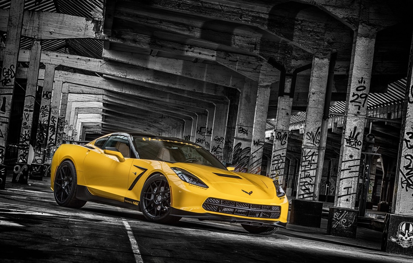 Photo wallpaper yellow, background, tuning, Corvette, Chevrolet, columns, Chevrolet, tuning, the front, Stingray, Corvette, HPE700, Ruffer Performance