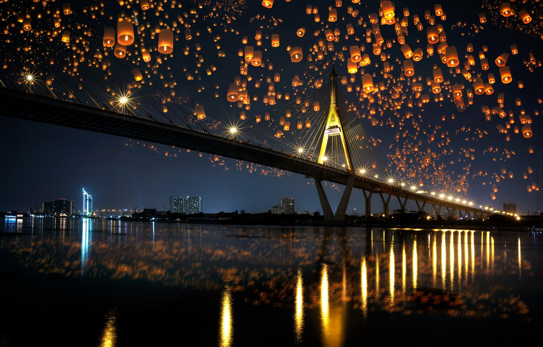 Photo wallpaper night, bridge, city, the city, lights, lights, reflection, river, river, bridge, night, reflection