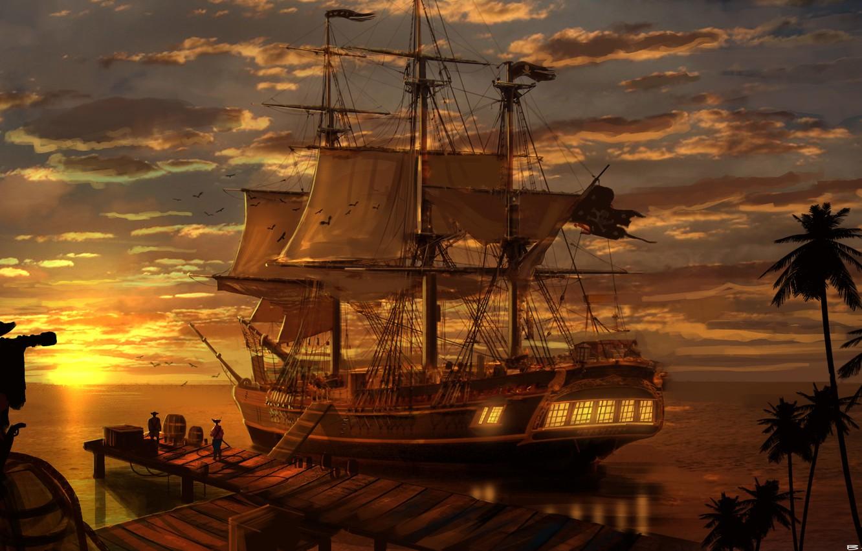 Photo wallpaper sea, landscape, sunset, the evening, Ship, pirates