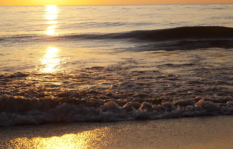 Photo wallpaper sand, sea, wave, beach, the sky, foam, water, the sun, light, sunset, squirt, nature, lights, …