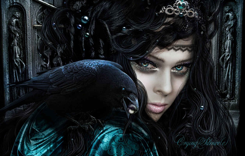 Photo wallpaper eyes, look, fiction, beak, crown, makeup, witch, Raven, Queen