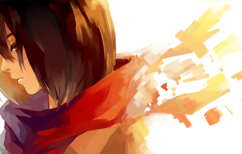 Photo wallpaper girl, scarf, art, profile, Mikasa Ackerman, Mikasa Ackerman