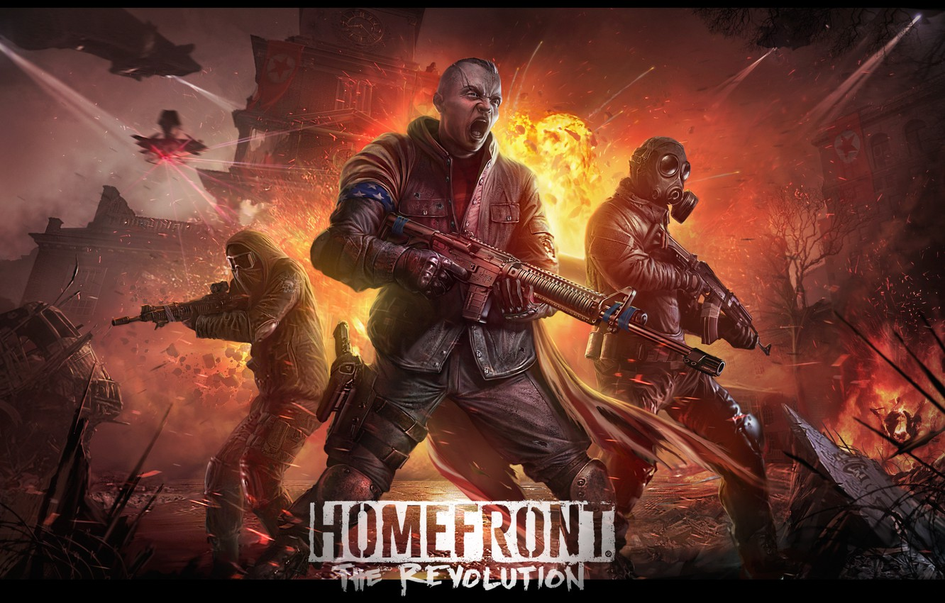 Photo wallpaper freedom, the explosion, night, weapons, fire, soldiers, gas mask, revolution, the uprising, Homefront: The Revolution