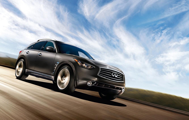 Photo wallpaper road, the sky, clouds, lights, wheel, emblem, infiniti, SUV, hatchback, Sport Utility Vehicle, FX35