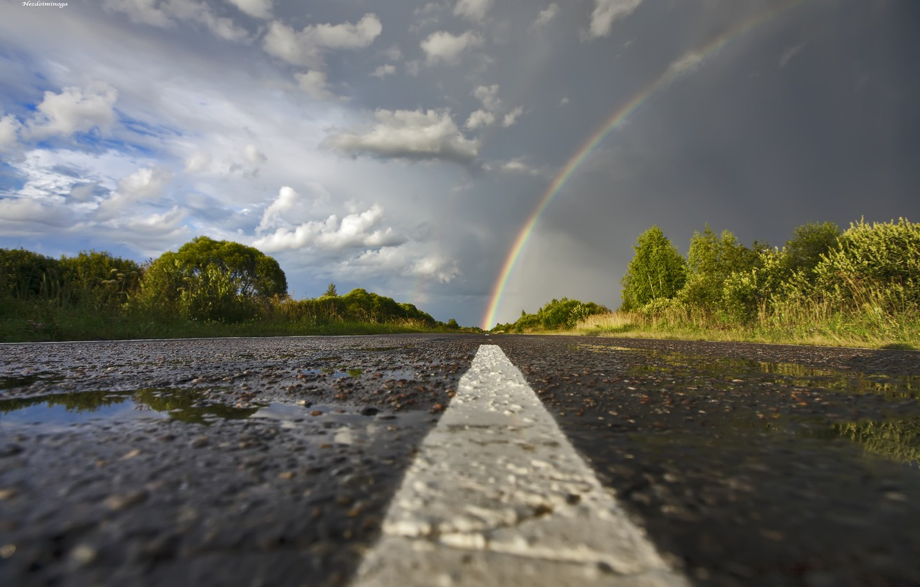 Photo wallpaper road, the sky, asphalt, trees, clouds, Rainbow, after the rain, puddles