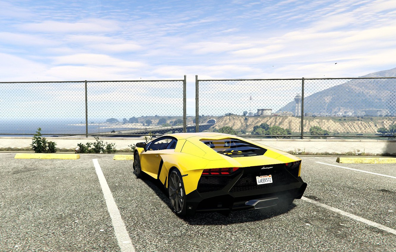 Photo wallpaper the sky, asphalt, yellow, the fence, Lamborghini, back, Parking, Aventador, 2013, GTA 5, LP720-4