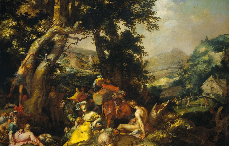 Photo wallpaper picture, religion, mythology, The Preaching Of John The Baptist, Abraham Bloemaert