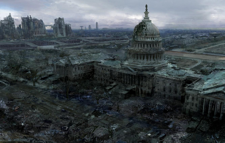 Photo wallpaper the city, Washington, Fallout 3, Capitol, Capitol
