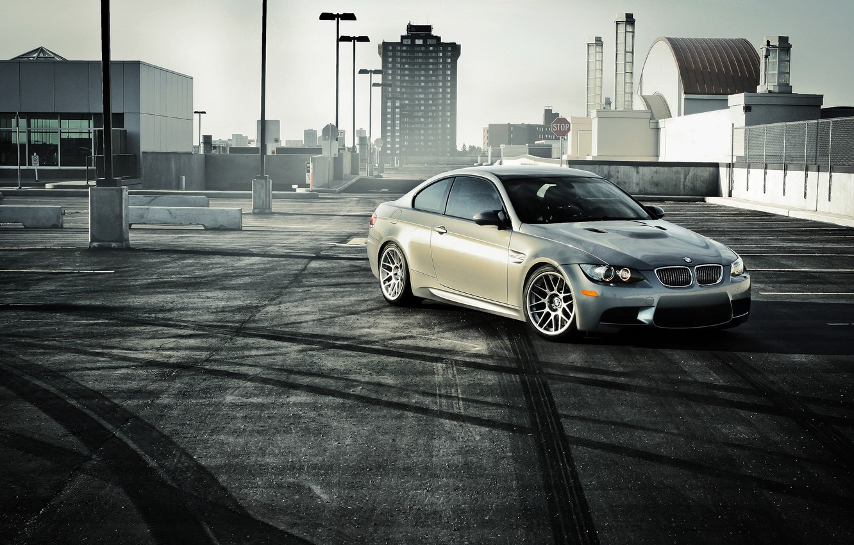 Photo wallpaper BMW, BMW, Parking, silver, front, E92, silvery
