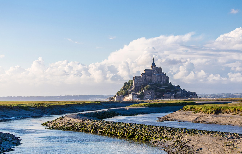 Photo wallpaper sea, the sky, clouds, castle, France, Normandy, Mont-Saint-Michel