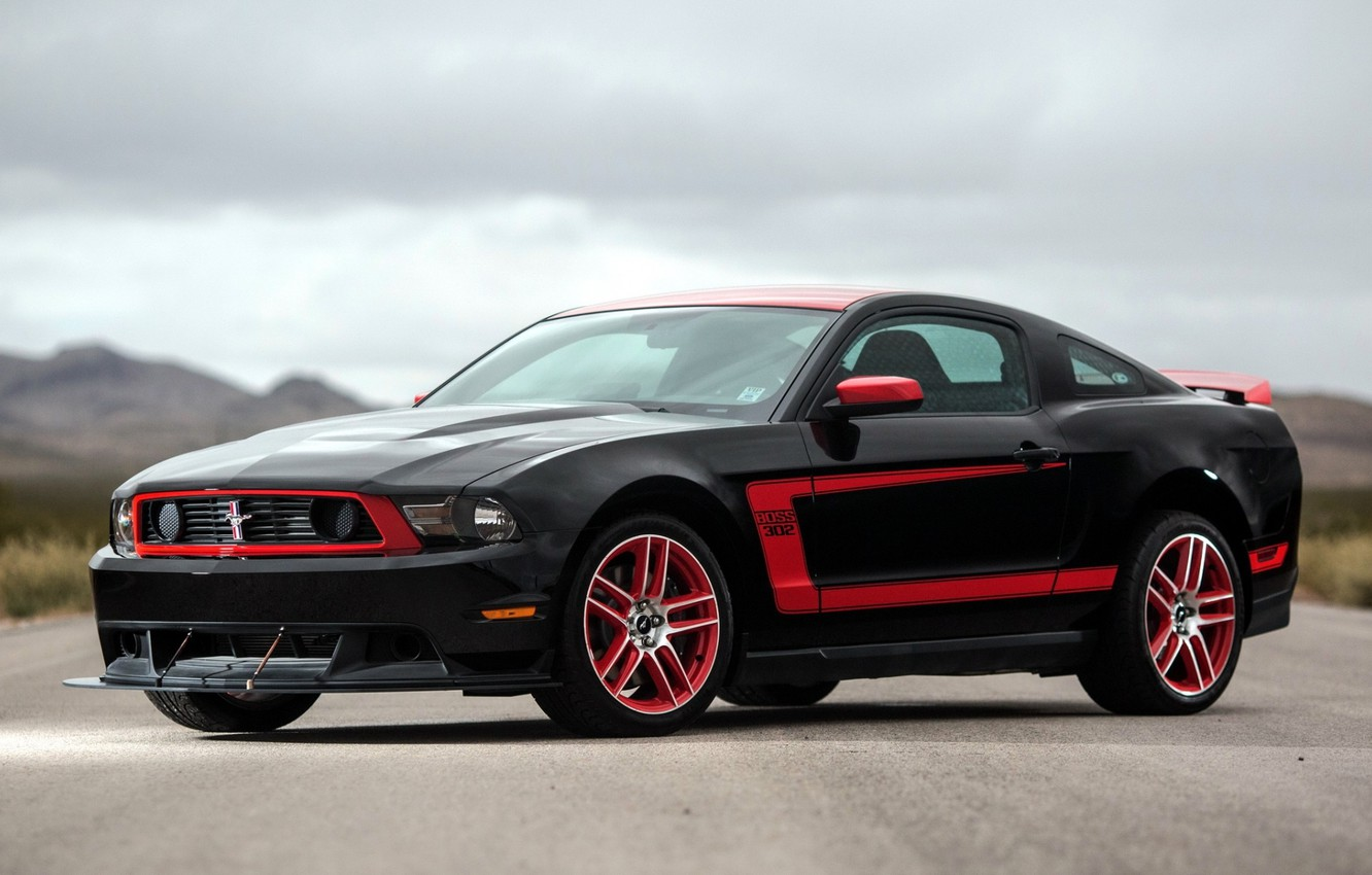 Photo wallpaper background, Mustang, Ford, Ford, Mustang, Boss 302, the front, Muscle car, Laguna Seca, Muscle car