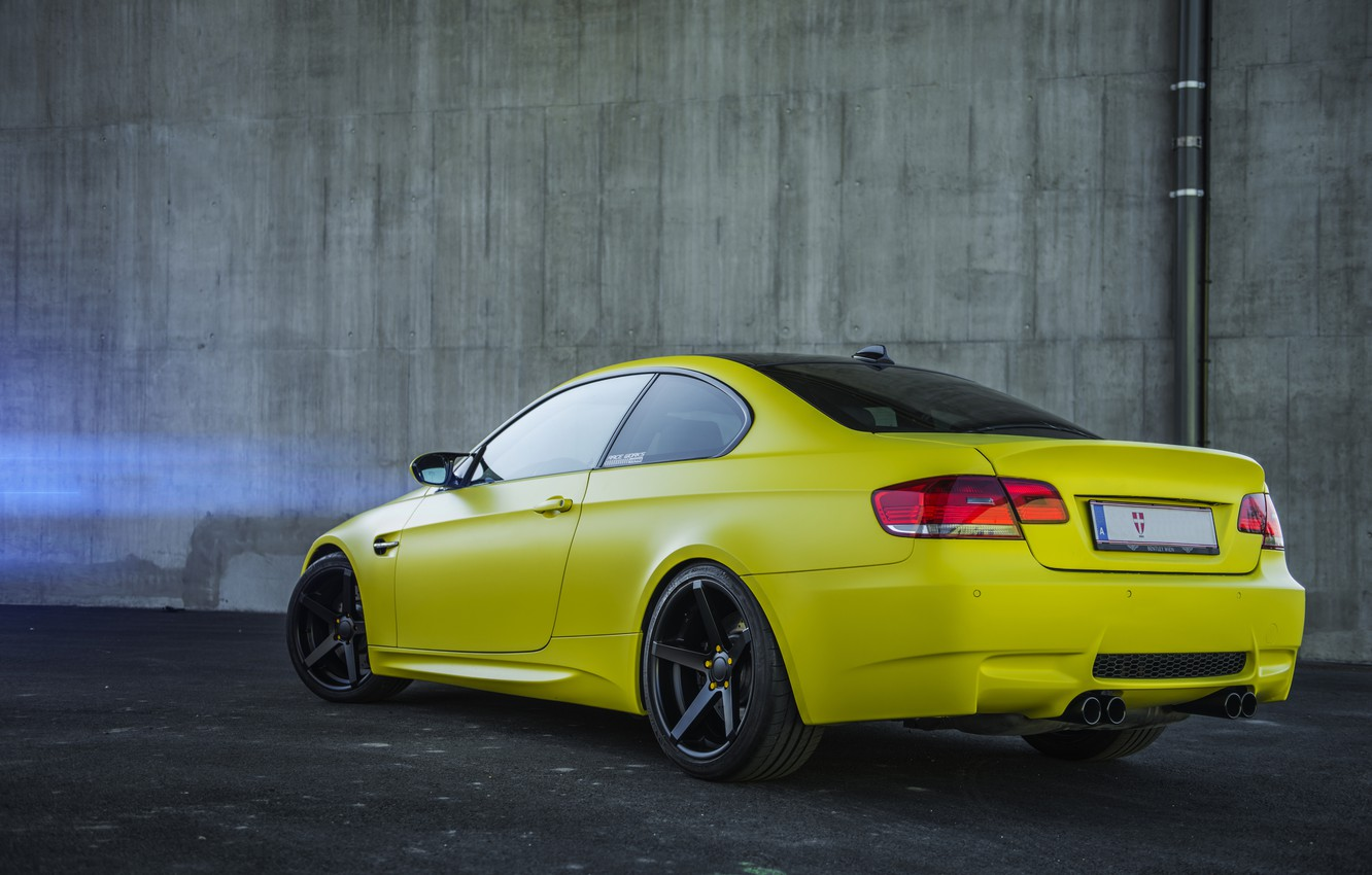 Photo wallpaper BMW, Tuning, Bumper, BMW, Yellow, Drives, E92, Back, Deep Concave