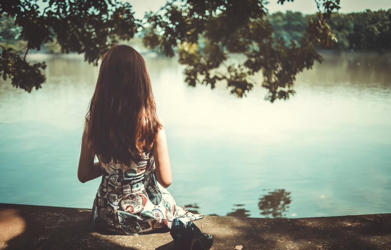 Photo wallpaper girl, pond, hair, back, sitting