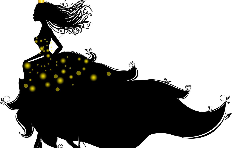 Photo wallpaper girl, crown, dress, silhouette, white background, heels, Princess