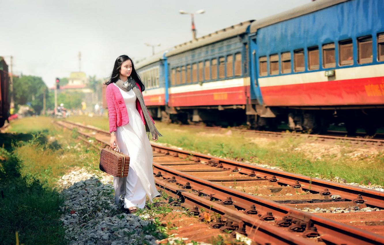 Photo wallpaper girl, train, railroad, East