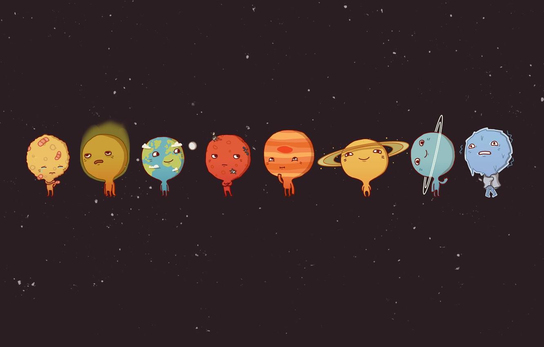 Photo wallpaper Planet, Cartoons, solar system, Planets