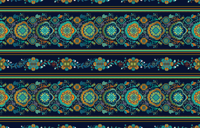 Photo wallpaper flowers, green, pattern, ornament