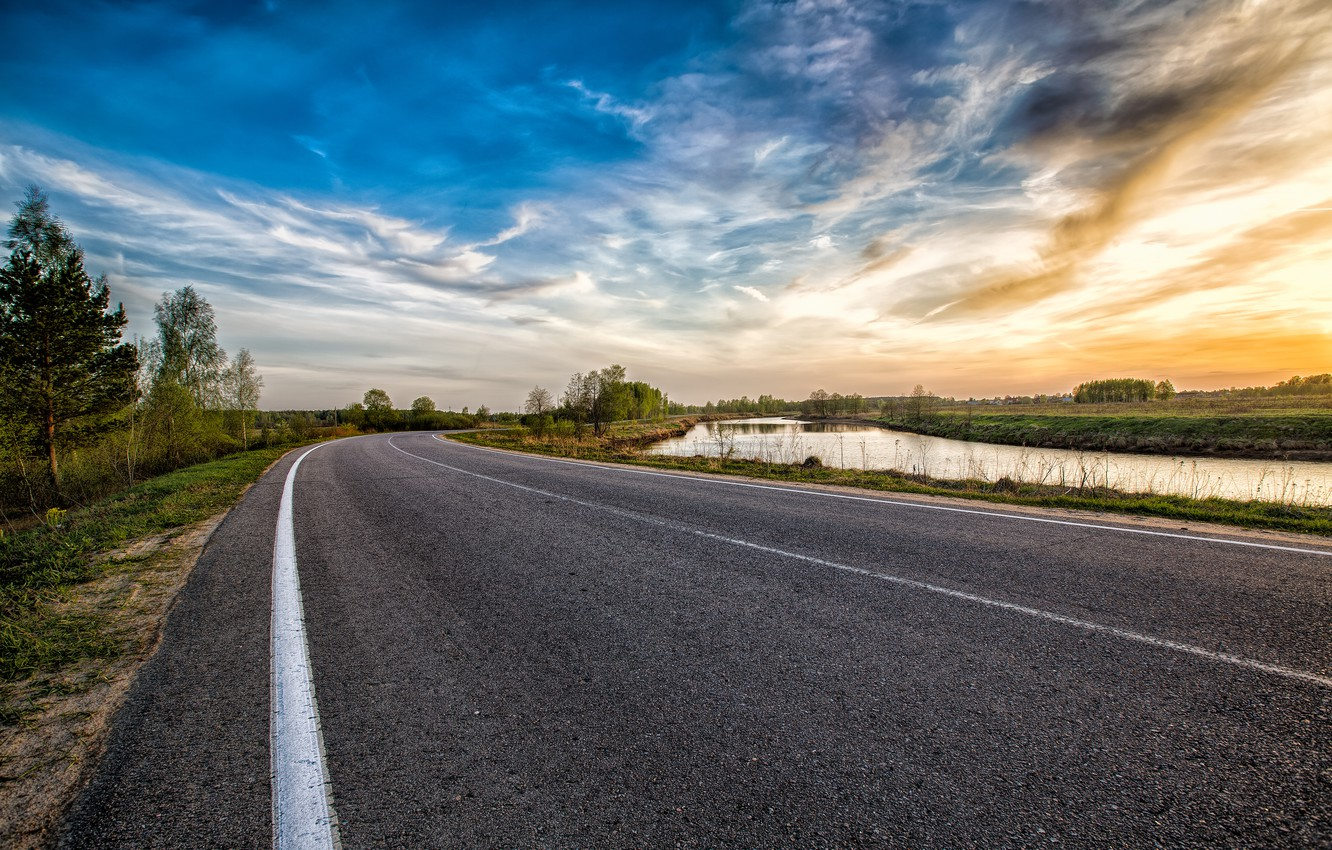 Photo wallpaper road, the sky, clouds, trees, landscape